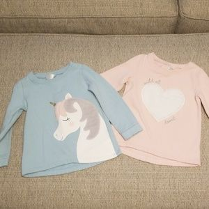 "Girls 3T Unicorn & ""Wild at Heart"" sweatshirts"